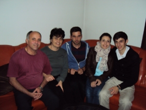 My host family. Dorin's children are Alin and Andrada and with Andrada is her fiance Anescu.
